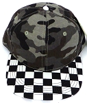 KIDS Jr. Snapback Hats Wholesale -  Charcoal Camo  / bk Checkered Art Design