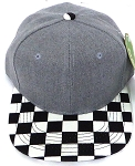 KIDS Jr. Snapback Hats Wholesale -  Denim Heather Grey  / bk Checkered Art Design