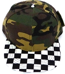 KIDS Jr. Snapback Hats Wholesale -  Green Camo  / bk Checkered Art Design