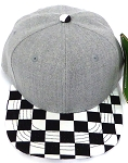 KIDS Jr. Snapback Hats Wholesale -  Denim Grey  / bk Checkered Art Design