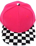 KIDS Jr. Snapback Hats Wholesale -  Hot Pink  / bk Checkered Art Design