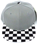 KIDS Jr. Snapback Hats Wholesale - L Grey  / bk Checkered Art Design