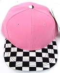 KIDS Jr. Snapback Hats Wholesale - L Pink / bk Checkered Art Design