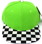 KIDS Jr. Snapback Hats Wholesale - Lime  / bk Checkered Art Design