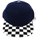 KIDS Jr. Snapback Hats Wholesale - NAVY  / bk Checkered Art Design
