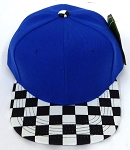 KIDS Jr. Snapback Hats Wholesale - Royal  / bk Checkered Art Design