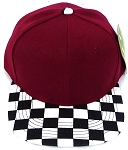 KIDS Jr. Snapback Hats Wholesale -  Burgundy  / bk Checkered Art Design