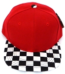 KIDS Jr. Snapback Hats Wholesale - Red  / bk Checkered Art Design