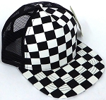 KIDS Junior Mesh Trucker Snapback Caps - Checkered bk  BLACK