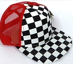KIDS Junior Mesh Trucker Snapback Caps - Checkered bk  RED