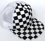 KIDS Junior Mesh Trucker Snapback Caps - Checkered bk  White