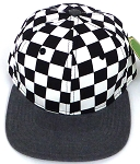 KIDS Jr. Snapback Hats Wholesale -  bk Checkered Art Design    Charcoal Grey