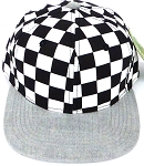 KIDS Jr. Snapback Hats Wholesale -  bk Checkered Art Design    Denim Grey