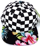 KIDS Jr. Snapback Hats Wholesale -  bk Checkered Art Design    Hawaiian BK flower