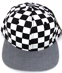 KIDS Jr. Snapback Hats Wholesale -  bk Checkered Art Design    Heather Grey
