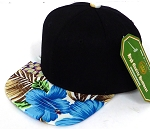 INFANT Baby Blank Snapback Hats & Caps Wholesale Hawaiian Flower  - Black  Blue