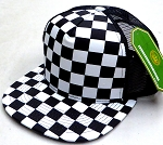Wholesale Checkered Mesh Trucker 5 Panel Snapback Blank Hats -  Checkered Art Bk / Bk Mesh