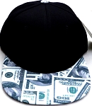 Wholesale Blank Dollar Bill Snapbacks Hats | Black /US $100 Dollar