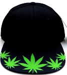 Wholesale Blank Dollar Bill Snapbacks Hats | Marijuana Leaf 1