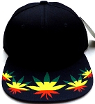 Wholesale Blank Dollar Bill Snapbacks Hats | Marijuana Leaf 2