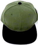 KIDS Junior Wholesale Blank Snapback Hats  - Olive Black
