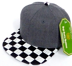 INFANT Baby Blank Snapback Hats & Caps Wholesale - Charcoal Grey Checkered