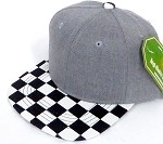 INFANT Baby Blank Snapback Hats & Caps Wholesale - Heather Grey Checkered