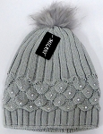 Wholesale Winter Fashion Fur Pom Pom Knit Beanies - Grey