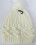 Wholesale Winter Fashion Fur Pom Pom Knit Beanies - White