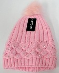 Wholesale Winter Fashion Fur Pom Pom Knit Beanies - Pink