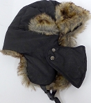 Trooper Bomber Faux Fur Winter Hats with Mask Wholesale - Solid  Black
