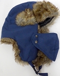 Trooper Bomber Faux Fur Winter Hats with Mask Wholesale - Solid Navy