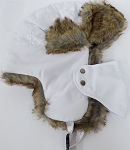 Trooper Bomber Faux Fur Winter Hats with Mask Wholesale - Solid White