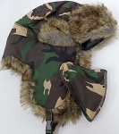 Trooper Bomber Faux Fur Winter Hats with Mask Wholesale - Solid GREEN CAMO