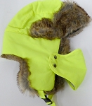 Trooper Bomber Faux Fur Winter Hats with Mask Wholesale - Solid Neon Yellow
