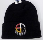 Wholesale Native Pride Long Cuff Beanie - Madison Wheel Black