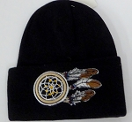 Wholesale Native Pride Long Cuff Beanie - dream catcher Black