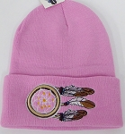 Wholesale Native Pride Long Cuff Beanie - dream catcher Pink