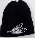 Wholesale Native Pride Long Cuff Beanie -Feather Black