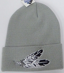 Wholesale Native Pride Long Cuff Beanie -Feather Grey