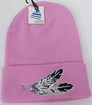Wholesale Native Pride Long Cuff Beanie -Feather Pink
