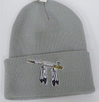 Wholesale Native Pride Long Cuff Beanie - Peace Pipe Grey