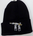 Wholesale Native Pride Long Cuff Beanie - Peace Pipe  Black