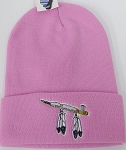 Wholesale Native Pride Long Cuff Beanie - Peace Pipe Pink