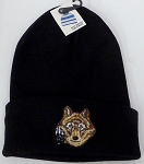 Wholesale Native Pride Long Cuff Beanie - Wolf Black