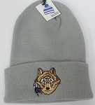 Wholesale Native Pride Long Cuff Beanie - Wolf  Grey