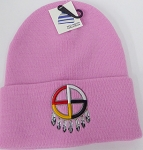 Wholesale Native Pride Long Cuff Beanie - Madison Wheel  pink
