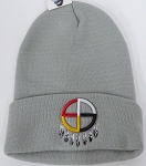 Wholesale Native Pride Long Cuff Beanie - Madison Wheel Grey