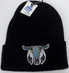 Wholesale Native Pride Long Cuff Beanie - Skull  Black