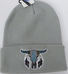 Wholesale Native Pride Long Cuff Beanie - Skull Grey